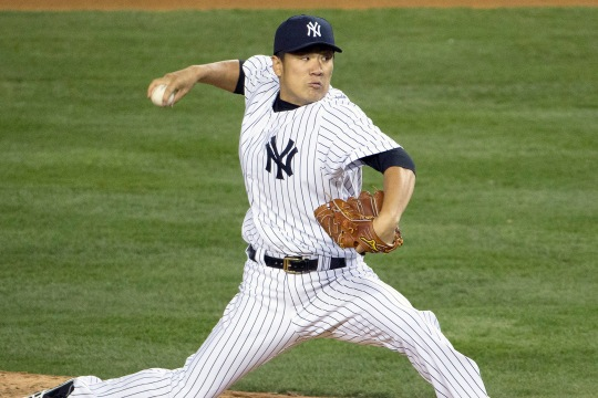 Bronx NY, USA - April 9th: Baltimore Orioles Vs New York Yankees at Yankee Stadium: New York Yankees starting pitcher Masahiro Tanaka (19) makes his first professional start at Yankee Stadium. (Photo by Anthony J. Causi)