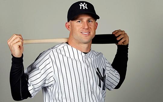 Feb 22, 2014; Tampa, FL, USA; New York Yankees center fielder Brett Gardner (11) poses for a photo at Steinbrenner Field. Mandatory Credit: Kim Klement-USA TODAY Sports