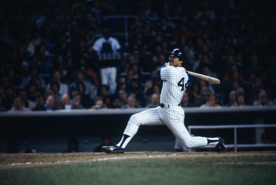 BRONX, NY - OCTOBER 18: Reggie Jackson of the New York Yankees bats during the World Series against the Los Angeles Dodgers at Yankee Stadium in Brox, NY on October 18, 1977. (Photo by Focus On Sport/Getty Images)